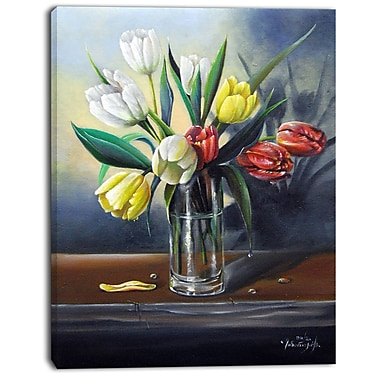 East Urban Home Red White Yellow Tulips Graphic Art Print on Canvas; 12 '' W x 20 '' H