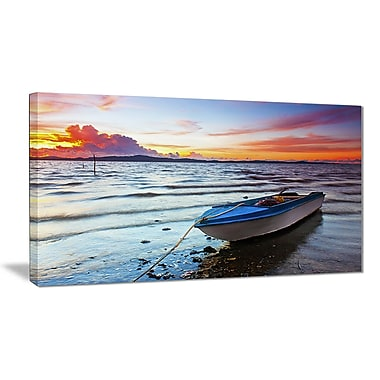 East Urban Home Boat at the Sunset Photographic Print on Canvas; 40 '' W x 20 '' H