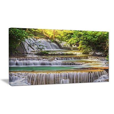 East Urban Home Tranquil Erawan Waterfall Photographic Print on Canvas; 32 '' W x 16 '' H