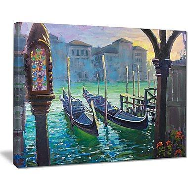 East Urban Home Gondolas in Venice Oil Painting Print on Canvas; 20 '' W x 12 '' H
