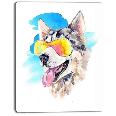 East Urban Home Siberian Husky Dog in Sunglasses Oil Painting Print on Canvas; 12 '' W x 20 '' H