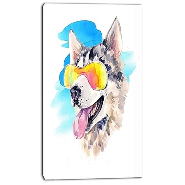 East Urban Home Siberian Husky Dog in Sunglasses Oil Painting Print on Canvas; 16 '' W x 32 '' H