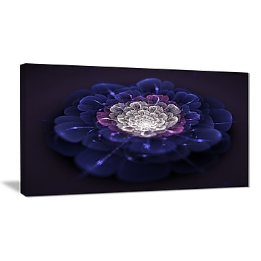East Urban Home Blue White Fractal Flowers Graphic Art Print on Canvas; 32 '' W x 16 '' H