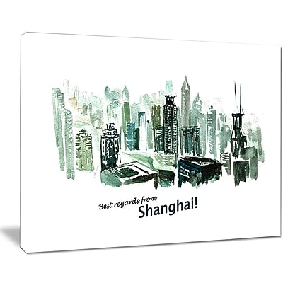 East Urban Home Shanghai Vector Illustration Oil Painting Print on Canvas; 40 '' W x 30 '' H