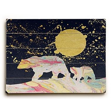 Ebern Designs Moon Bear' Rectangle Graphic Art Print on Wood; 18'' H x 24'' W x 1.5'' D
