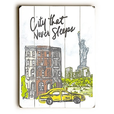 Ebern Designs 'City Sleeps' Graphic Art Print on Wood; 24'' H x 18'' W x 1.5'' D