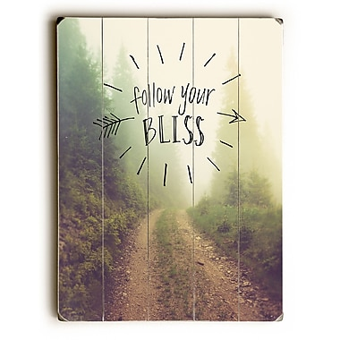 Ebern Designs 'Follow Your Bliss' Graphic Art Print on Wood; 34'' H x 25'' W x 1.5'' D