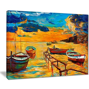 East Urban Home Boats in Beautiful Sea Oil Painting Print on Canvas; 40 '' W x 30 '' H