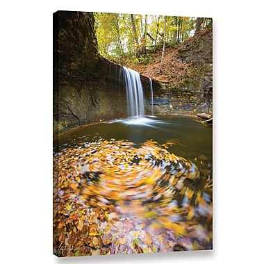Loon Peak Indian Run Falls Swirling Leaves Photographic Print on Wrapped Canvas