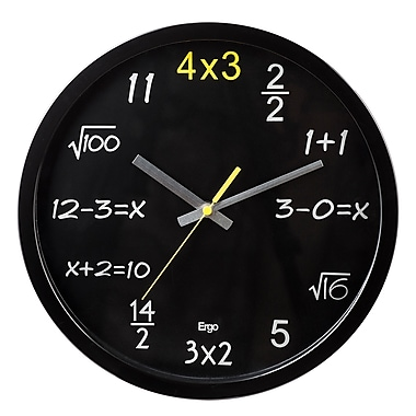 Ergo Math 1+1 Silent Wall Clock, 12.5