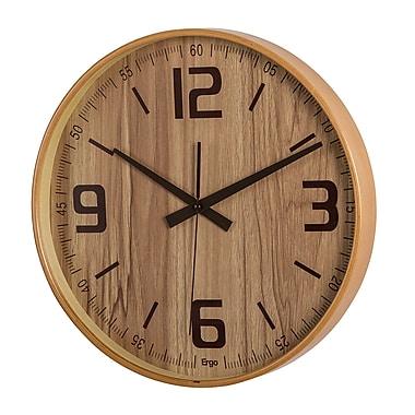 Ergo – Horloge murale silencieuse en bois courbé, 14 po