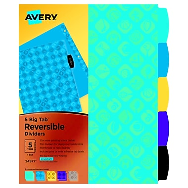 Avery Big Tab Reversible Dividers, 5-Tab, 1 Set, Sports (24977)