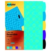 Avery Big Tab Reversible Dividers, 5-Tab, 1 Set, Sports (24977)