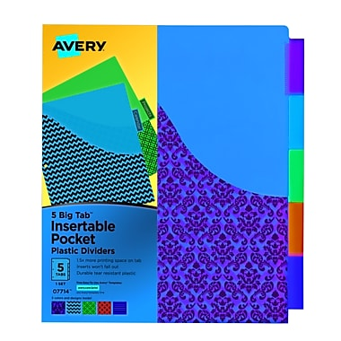 Avery® Big Tab™ 5-Tab Pocket Insertable Divider, Plastic, Assorted, 9 1/4