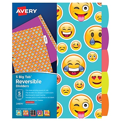 Avery Big Tab Reversible Dividers, 5-Tab, 1 Set, Emoji Design (24974)