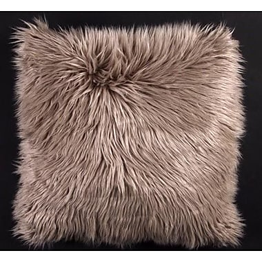 Latitude Run Avey Fuzz Shag Throw Pillow; Silver