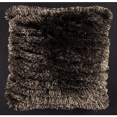 Latitude Run Aviles Shag Throw Pillow; Black/Beige
