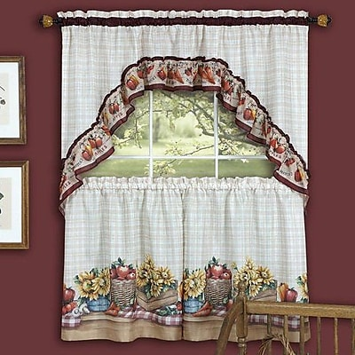 August Grove Cadia Traditional Elegance Farmhouse 2 Piece Kitchen Curtain Set