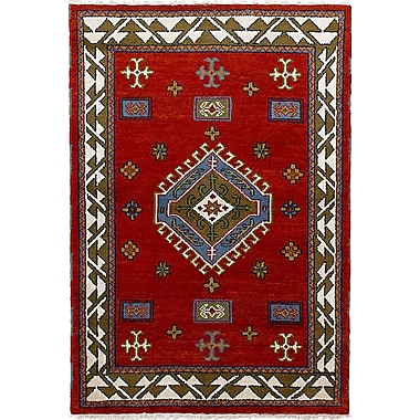 Bloomsbury Market Berkshire Hand-Knotted Wool Red Area Rug
