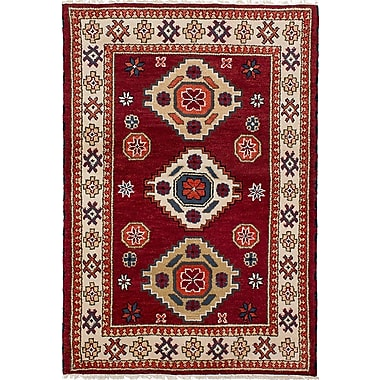 Bloomsbury Market Berkshire Traditional Hand-Knotted Wool Dark Red Area Rug