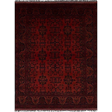 Bloomsbury Market Bilberry Hand-Knotted Floral Wool Dark Red Area Rug