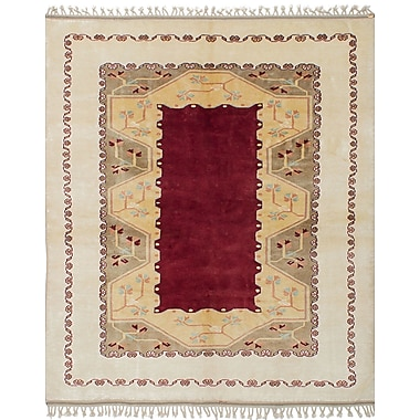 Bloomsbury Market Bettina Traditional Hand-Knotted Wool Cream/Dark Red Area Rug