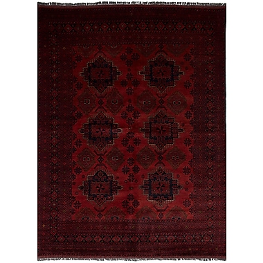 Bloomsbury Market Bilberry Hand-Knotted Wool Dark Red Area Rug