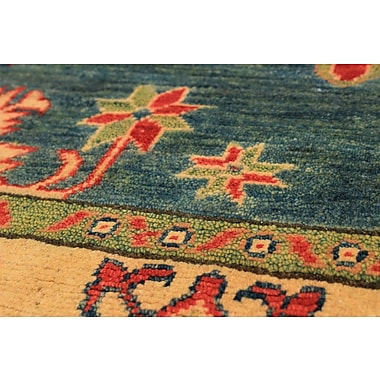 Bloomsbury Market Bernard Hand-Knotted Wool Turquoise Area Rug
