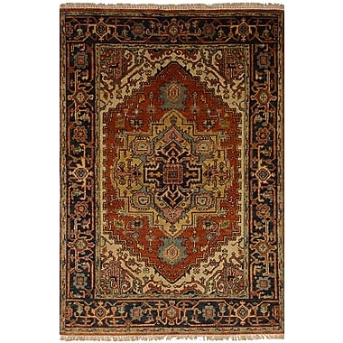 World Menagerie Charleena Wool Hand-Knotted Dark Copper Area Rug