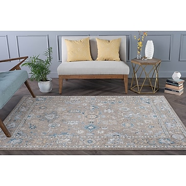 Charlton Home Clementine Traditional Gray/Taupe Area Rug; 5'3'' x 7'3''