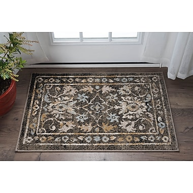 Charlton Home Clementine Traditional Taupe Area Rug; 2' x 3'