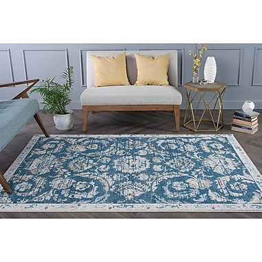 Charlton Home Clementine Transitional Navy Area Rug; 2' x 3'
