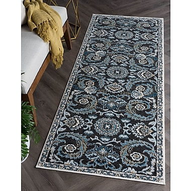 Charlton Home Clementine Transitional Charcoal Area Rug; Runner 2'7'' x 7'3''
