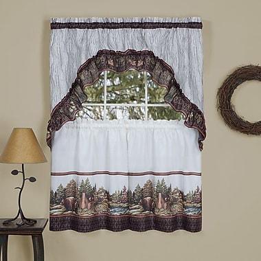 Loon Peak Buckberry Traditional Elegance Bear Country 2 Piece Kitchen Curtain Set