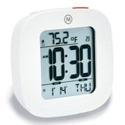 Symple Stuff Compact Alarm Clock w/ Temperature and Date; White