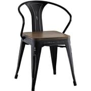 Williston Forge Ashlyn Arm Chair w/ Slat Back; Black