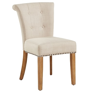 !nspire Button Tufted Side Chair, Beige/Vintage Oak legs, 2/Pack (202-221VK/BG)