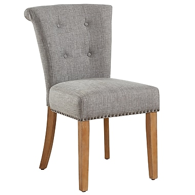 !nspire Button Tufted Side Chair, Light Grey/Vintage Oak legs, 2/Pack (202-221VK/LG)