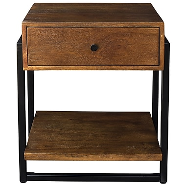 !nspire ? Table d?appoint en bois massif et en fer, noyer (501-314WAL)
