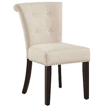 !nspire Button Tufted Side Chair, Beige/Coffee legs, 2/Pack (202-221CF/BG)