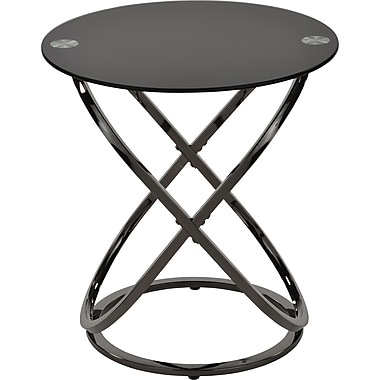 !nspire ? Table d?appoint en verre et métal, nickel noir (501-260BK)