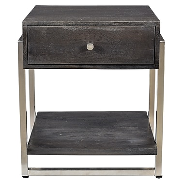 !nspire Solid Wood/Iron Accent Table, Dark Grey (501-314DG)