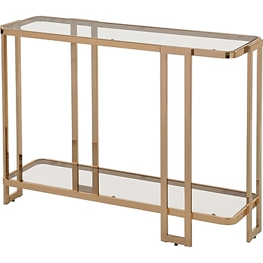 !nspire Glass/Metal Console Table, Gold (502-229GL)
