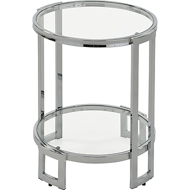 !nspire Glass/Metal Accent Table, Chrome (501-229CH)
