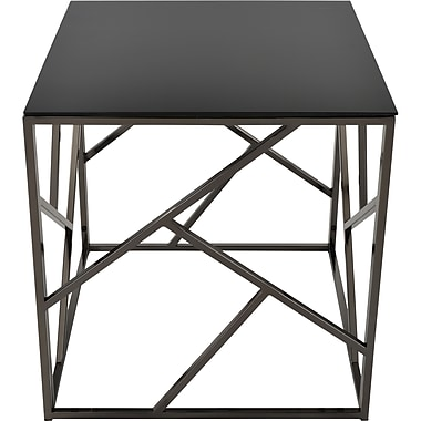 !nspire Glass/Metal Accent Table, Black Nickel (501-315BK)
