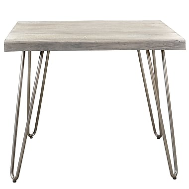 !nspire Mango Wood/Iron Accent Table, Light Grey (501-399LG)