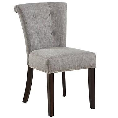 !nspire ? Chaise d?appoint capitonnée, gris clair et pattes café, 2/paquet (202-221CF/LG)