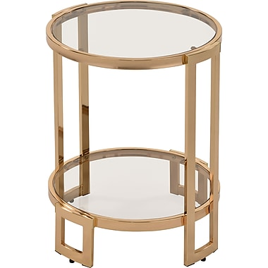 !nspire Glass/Metal Accent Table, Gold (501-229GL)