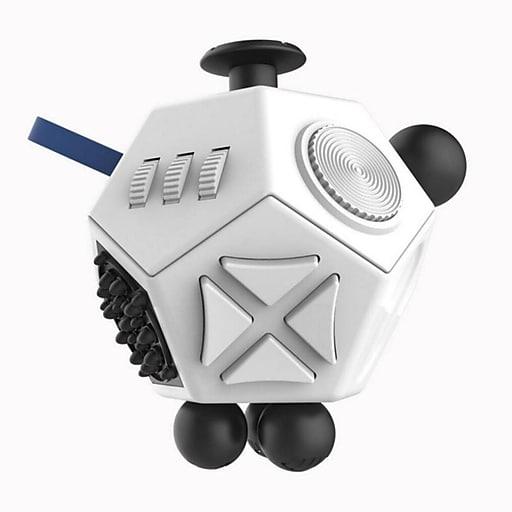 LAX Gadgets 12 Sided Fidget Widget Anti Stress Desk Toy, White (1XFDGT12SDWHT)