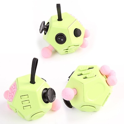 LAX Gadgets 12 Sided Fidget Widget Anti Stress Desk Toy, Green, 2-Pack (2XFDGT12SDGRN)